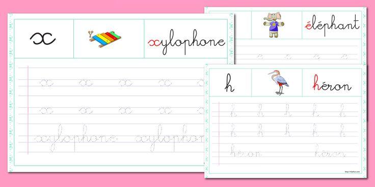 PDF Fiche alphabet à imprimer Minuscule cursive à renforcer - Chaque Feuille d'écriture permet apprendre à écrire une lettre de l'alphabet en minuscule cursive.