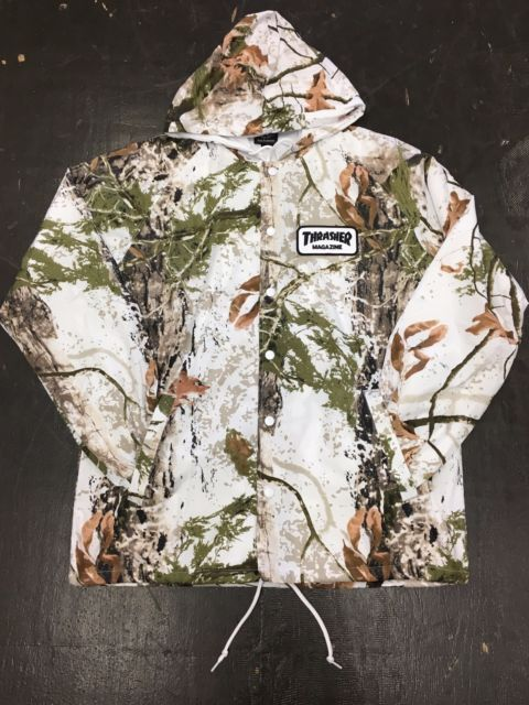 Men 159067: New W Tags Thrasher Skateboard Mag Patch Hooded Coach Jacket (Snow Camo) Sm, L -> BUY IT NOW ONLY: $64.99 on eBay!