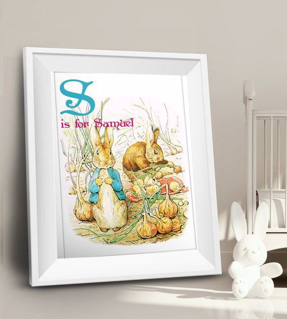 A is for..Personalise Baby Name  Print, Peter Rabbit  Baby Name poster,  Alphabet Letter Poster , Beatrix Potter  Wall Name Plaque