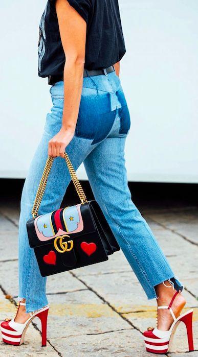 Milan Fashion Week Mfw Red Stiletto Heels Gucci Handbag Street Style Luxury Fashion Redone
