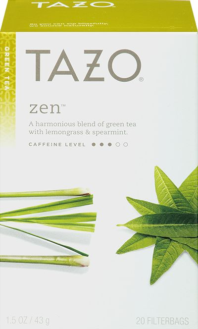 Tazo Zen™ Green Tea | A harmonious blend of green tea with lemongrass and spearmint. | Through the screened front door, zingy lemongrass and spritely spearmint coax contemplative pan-fired green teas to come play. Calmly, lemon verbena opens the door and invites them all to a cup of tea.