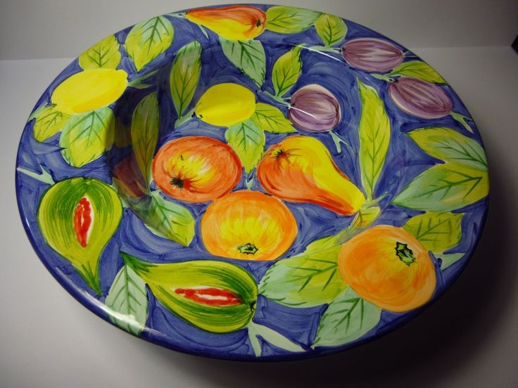 "Wonderful RARE Nemian Marcus MADE IN ITALY large 14"" bowl with fruit motif"