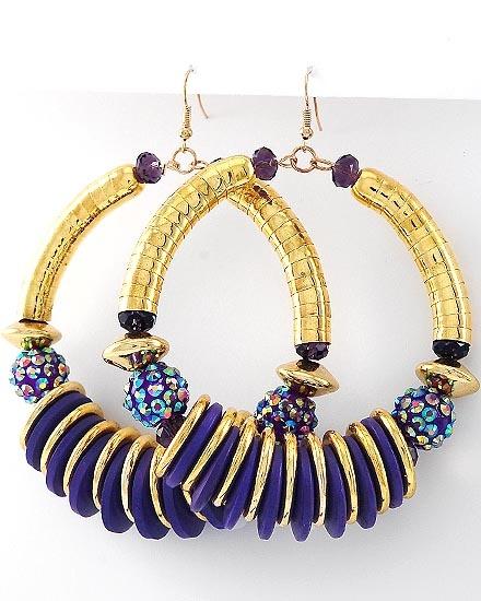 Large Purple & Gold Hoop Earrings: Gold Hoop Earrings, Hoops La, Gold Hoops