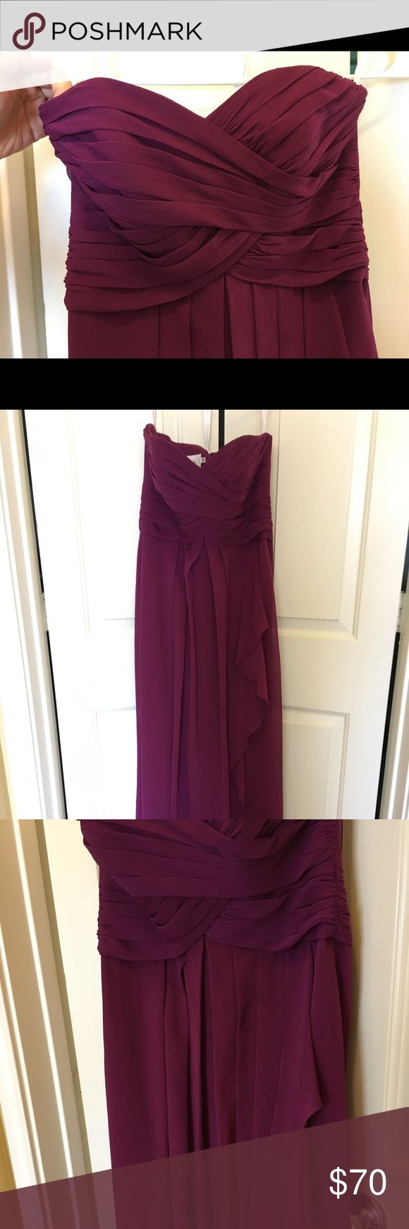 Strapless Crinkle Chiffon Dress with Cascade Skirt Worn once. Beautiful bridesmaid dress! Size 2, in color Sangria David's Bridal Dresses Wedding