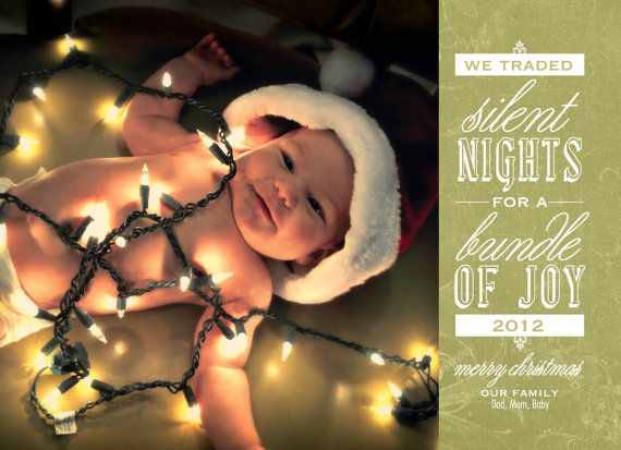 Christmas Birth Announcement  Green and Red Baby by HillaryKDesign, $10.00