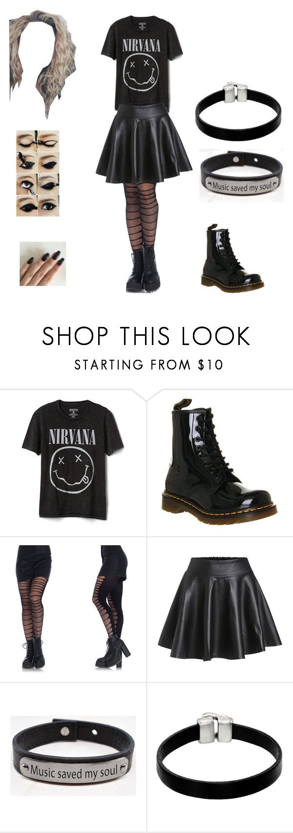 """Smells like the only nirvana song you know😂😂😂😂"" by teen-fashion-icon ❤ liked on Polyvore featuring Gap, Dr. Martens, Leg Avenue, Pink Box and Unode50"