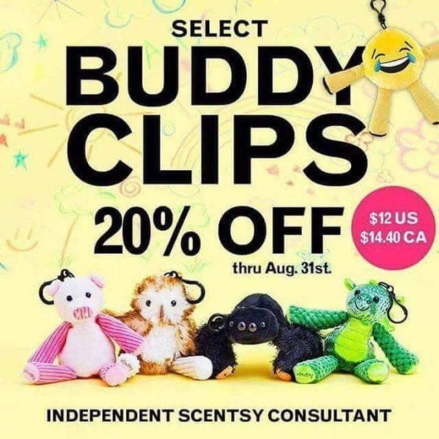 Select buddy clips on for 20% off until August 31st only!! 😱 #scentsy #buddy #clips #kids #fun #backpacks #hangtheminyourcar #pig #owl #spider #dragon #emoji #sale #augustsales