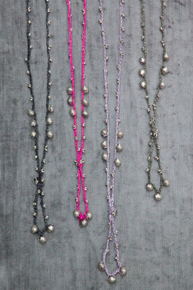 crochet and silver beads necklace