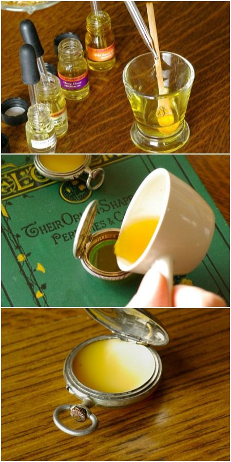 Homemade solid perfume in old pocket watch. This would make for really cool DIY Christmas gifts.