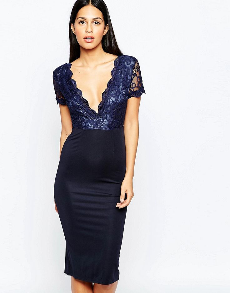 Image 1 ofClub L Midi Dress with Lace Scallop Plunge