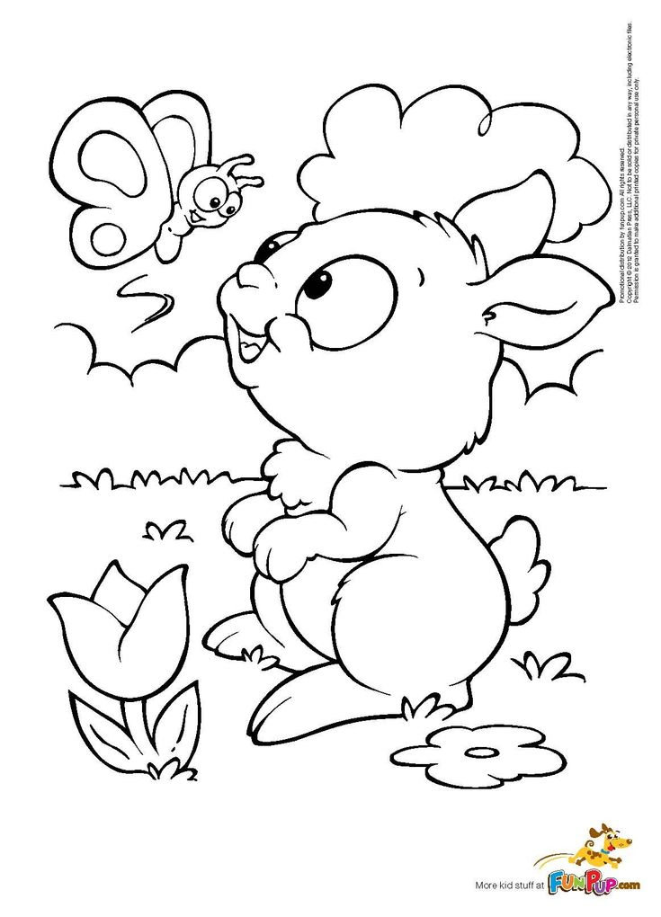 Butterfly Bunny Coloring Page Free Printable Coloring