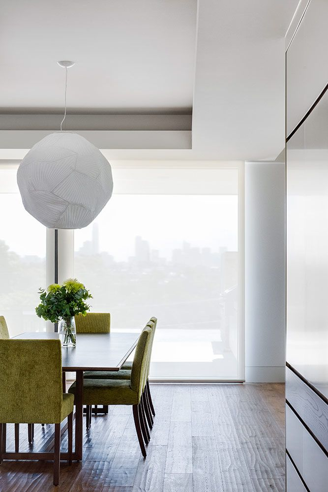 Dual motorised roller blind in Ecoview sheer fabric.                                                                                                                                                     Window Furnishing: Roller Blinds                                                                                                                                                     Room: Kitchen & Living
