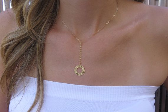 Gold Necklace  Circle Necklace Simple Circle by HLcollection  #gift #idea #shopping