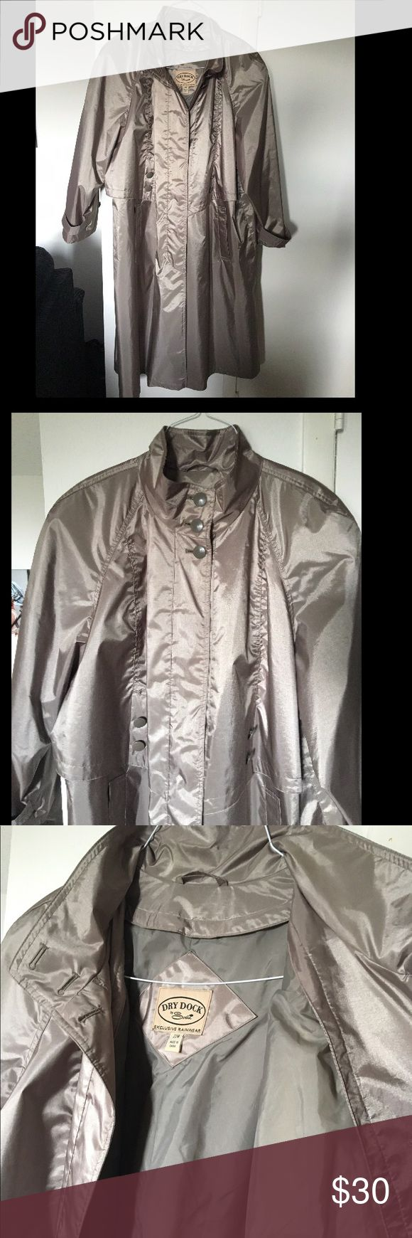 Dry Dock Rain Coat Sleek, Taupe long raincoat by Dry Dock. Barely used. In great condition. Has a zipper down the front, as well as buttons. Also has a drawstring round the waist for a cinched look. Jackets & Coats Trench Coats
