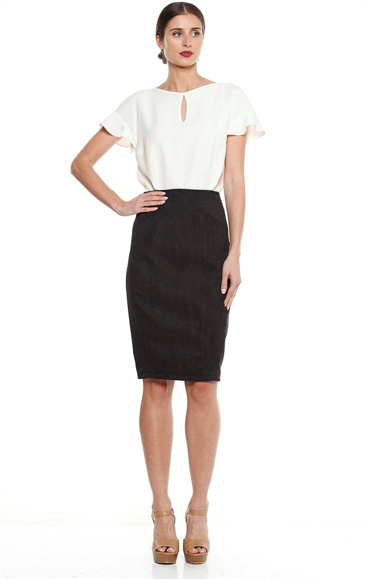 RICARDO FAUX SUEDE KNEE LENGTH FITTED PENCIL SKIRT IN MIDNIGHT
