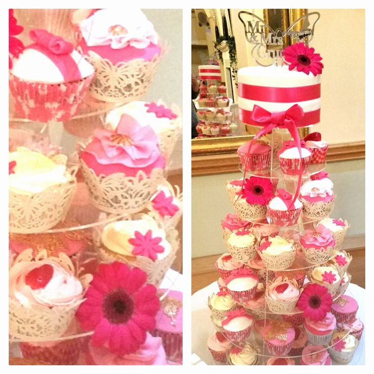 Fuchsia Pink Cupcake Tower