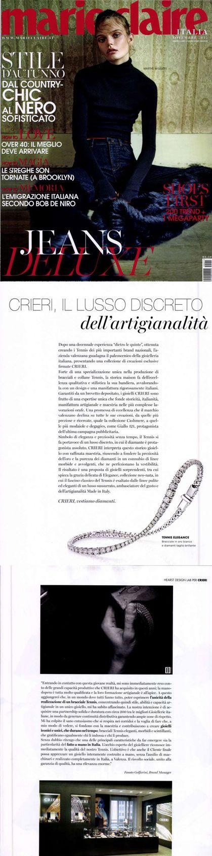 ❖Visto su #MARIECLAIRE – 01/11/2015❖ #Elegance collection. #tennis #bracelets #trendy #jewelry #fashion #gold #valenza #crieri #vestiamodiamanti #tennispassion #tennisclub #glamour #chic #lifestyle
