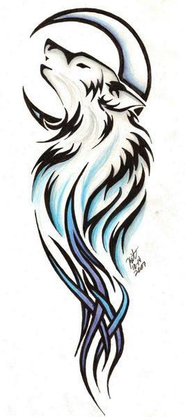 Moon And Tribal Wolf Tattoo Design. Elegant, as tattos go.