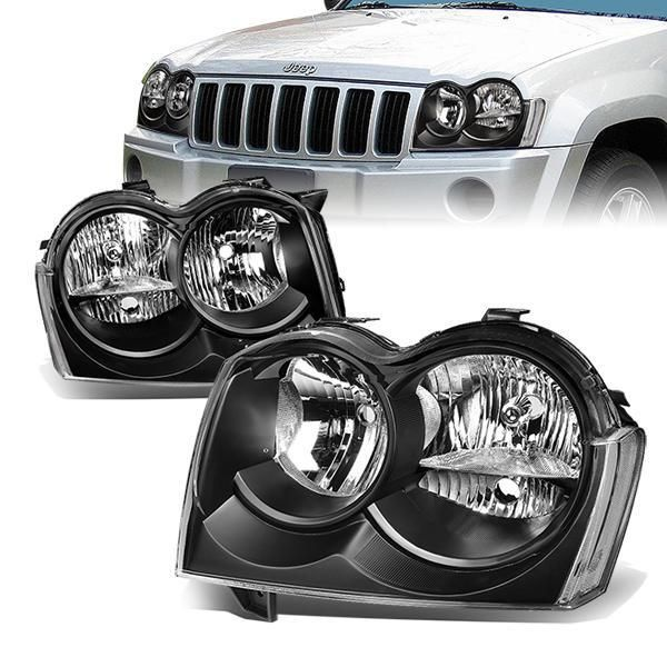 05 07 Jeep Grand Cherokee Headlights Black Housing Clear Corner Jeep Grand Cherokee Jeep Grand Headlights