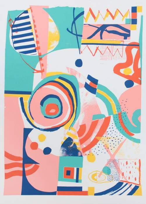 atelier bingo, print, pattern, mark making, colourful, summer, abstract
