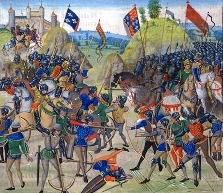 The Battle of Creçy 1346  King Edward III's crushing English victory over the French; where the Black   Prince won his spurs and acquired the emblem of the Three White  (22gf///mtk)