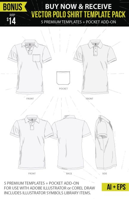 BONUS Vector polo shirt mockup templates with every Ghosted – Polo Shirt Template (PSD) purchase!
