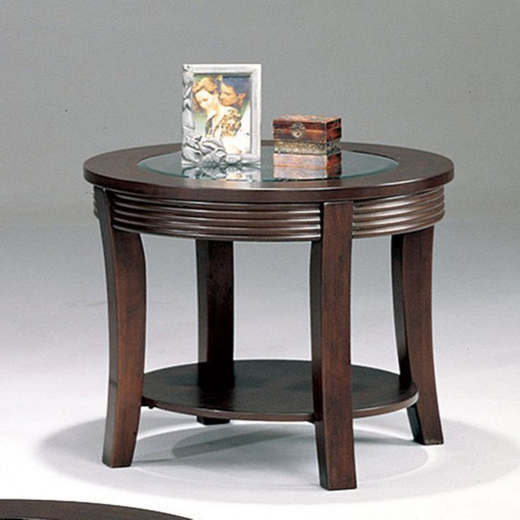 Coaster Furniture Round Glass Top End Table - Cappuccino - 5524