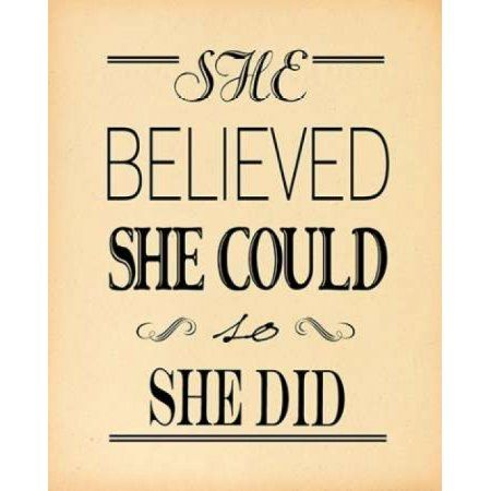 She Believed Beige Canvas Art - Jo Moulton (24 x 30)