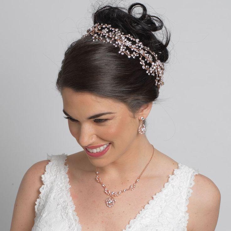 Affordable Elegance Bridal - Rose Gold Crystal Hand Wired Floral Wedding Headband, $179.99 (http://www.affordableelegancebridal.com/rose-gold-crystal-hand-wired-floral-wedding-headband/)