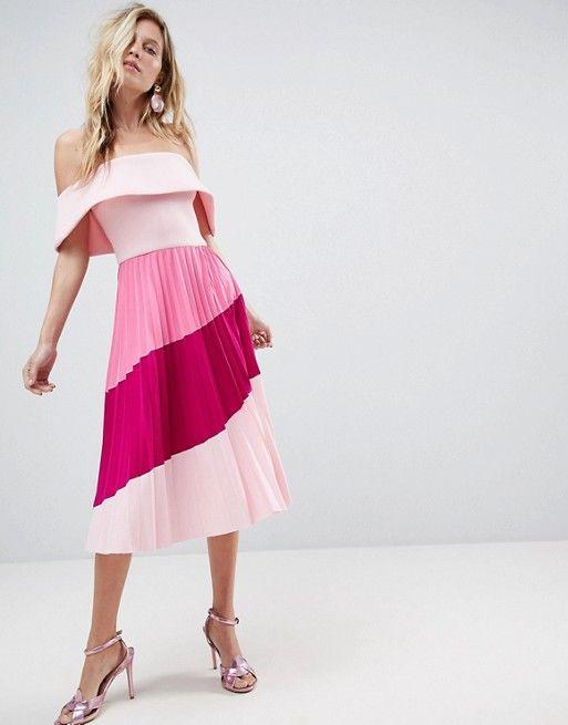160589348941 Scuba Bardot Color Block Pleated Midi Dress in 2019