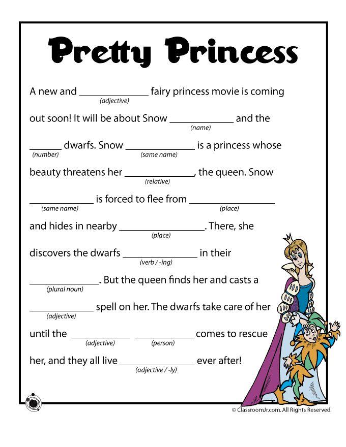 Summer Mad Libs Pretty Princess Mad Libs – Classroom Jr.
