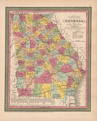 Authentic Georgia Antique Map Cowperthwait 1853 For Sale Free
