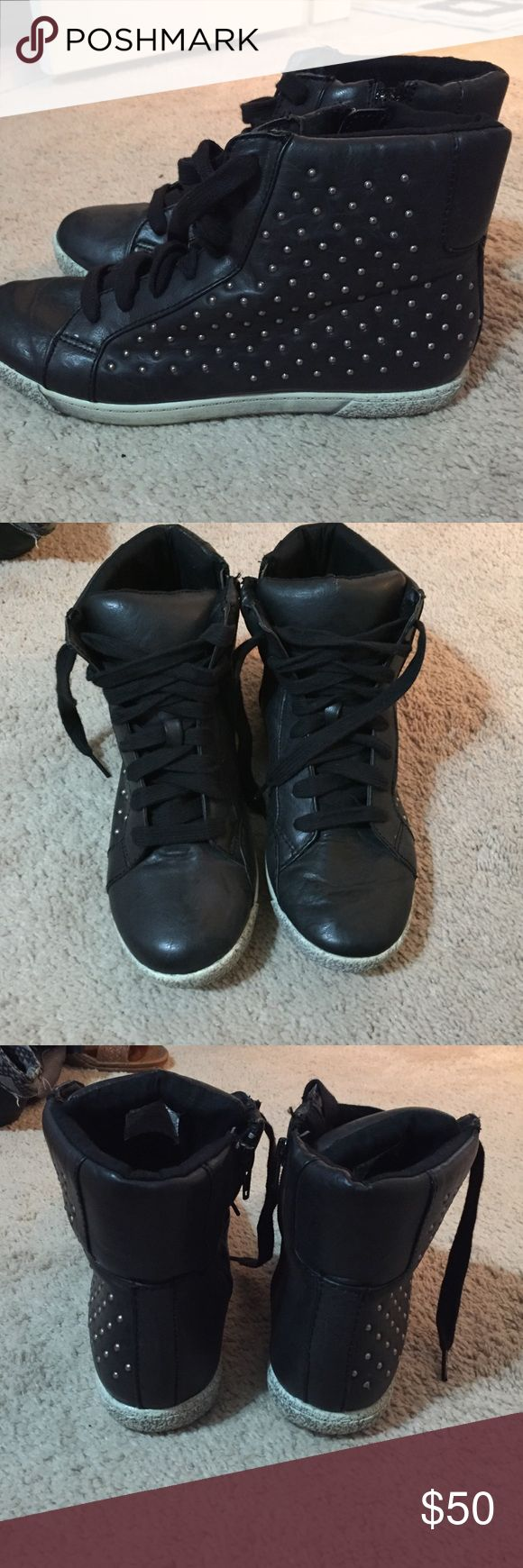 hightop studded sneakers worn once size 9 Shoes Sneakers