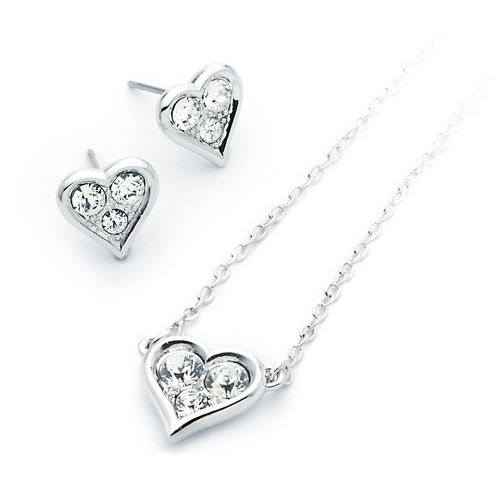 Triple Crystal Heart Pendant & Earrings Set with Swarovski® Crystals