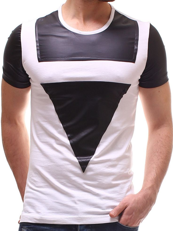 P&V Men Faux Leather Triangle T-Shirt - White