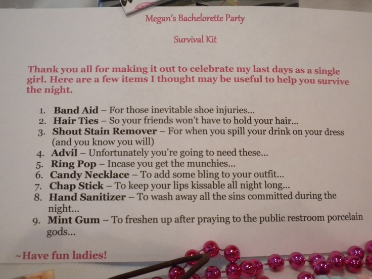 Bachelorette Party Survival Kit: Contents Description ...