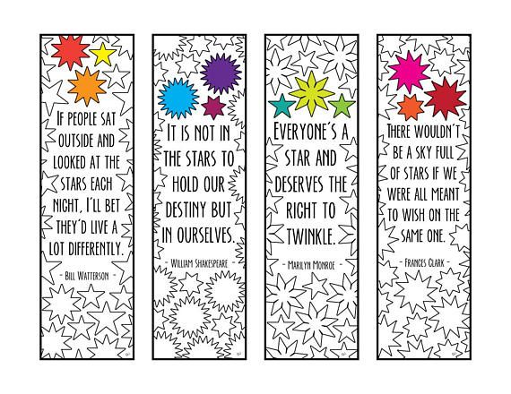 Star Quotes Bookmarks PDF Zentangle