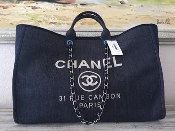 Chanel Deauville Tote Weekender Boy Classic Denim Travel Bag.