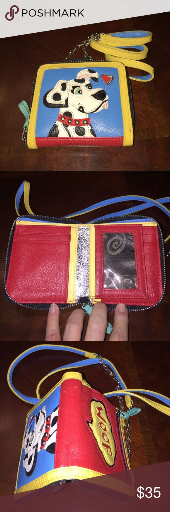 Brighton Dog Wallet/Cross Body Purse. Very Unique! Authentic Brighton Dog Leather Cross Body Purse/Wallet. Room for 2 ID's, 4 credit cards, coins, 2 places for bills, 2 hidden pockets. Zips closed. Features removable strap. Can be used as a cross body purse or a wallet. Very unique piece. Super cute! No longer in production. Purchased 15 years ago. Barely used. Brighton Bags Crossbody Bags