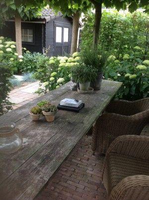 Vanha harmaaksi kulunut yksinkertainen puinen puutarhapöytä, suojaava vihreä köynnöskatos ja ympärillä kukkiva puutarha - täydellistä! Perfect gardentable, old and worn.