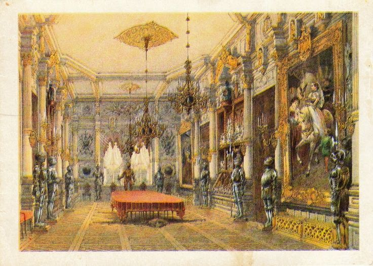 Dining hall in the Palace of the  Verkiai Estate. Old card. 1987. Double.