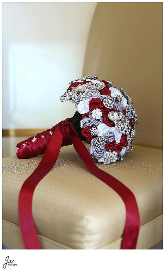 Hey, I found this really awesome Etsy listing at http://www.etsy.com/listing/118577484/scarlet-red-gray-white-brooch-bridal