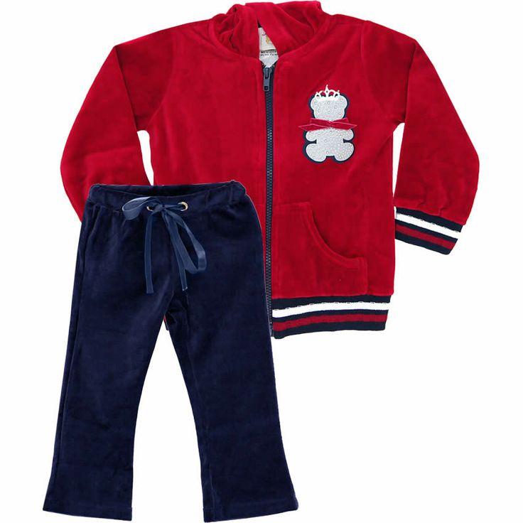 Conjunto Infantil Feminino de Plush Urso Vermelho - Nini & Bambini :: 764 Kids   Roupa bebê e infantil