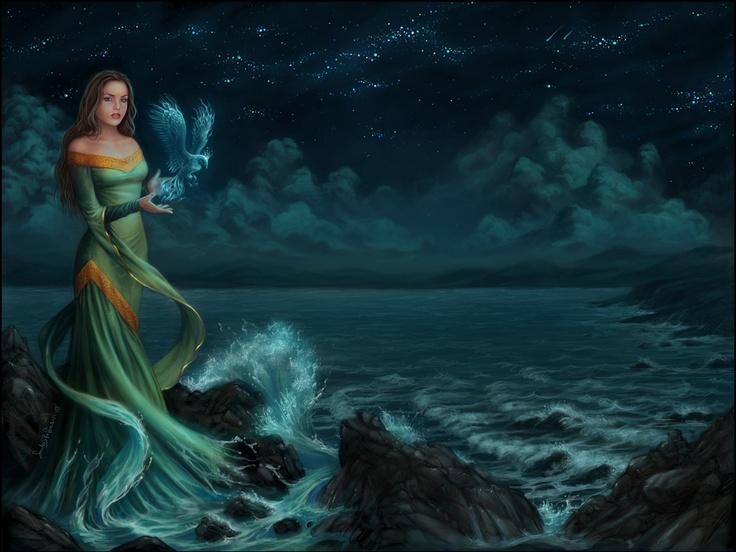Living Room Home Wall Decoration Sill Fabric Poster Gothic Metal Heavy Fantasy Ocean Sea Mood Women Girls Nights Stars
