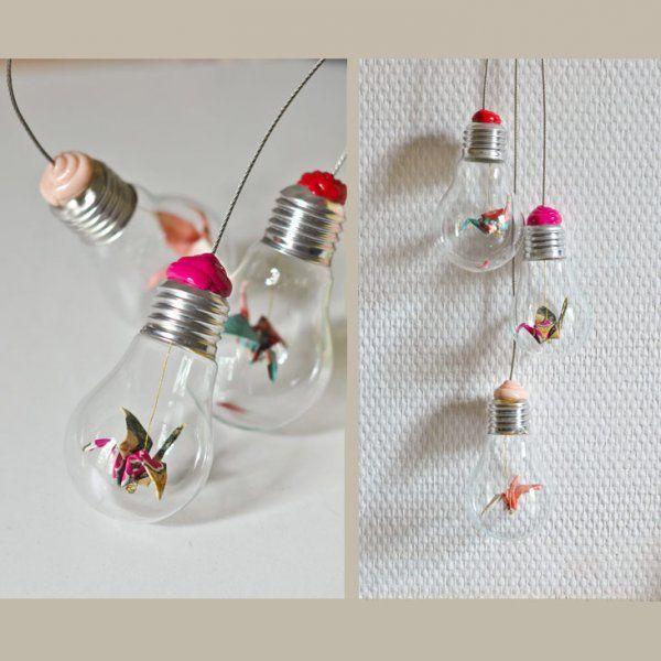Une suspension d'ampoules et d'origami - Marie Claire Idées