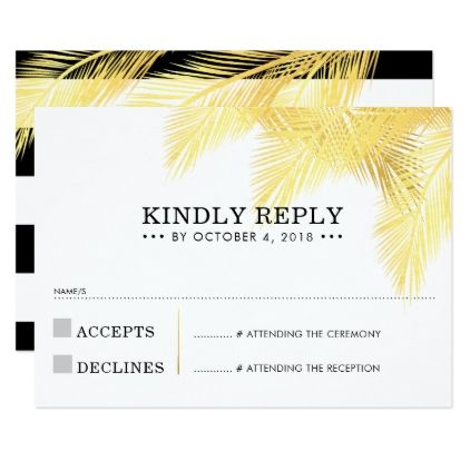 RSVP REPLY CARD chic modern gold palm frond leaves - summer wedding diy marriage customize personalize couple idea individuel