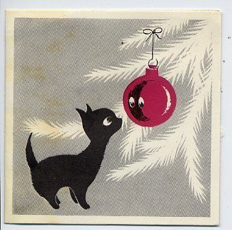 """BLACK CAT & CHRISTMAS TREE  Vintage Christmas Card.""How wonderfully this illustration captures the curious kitty:) #cats #CatArt"