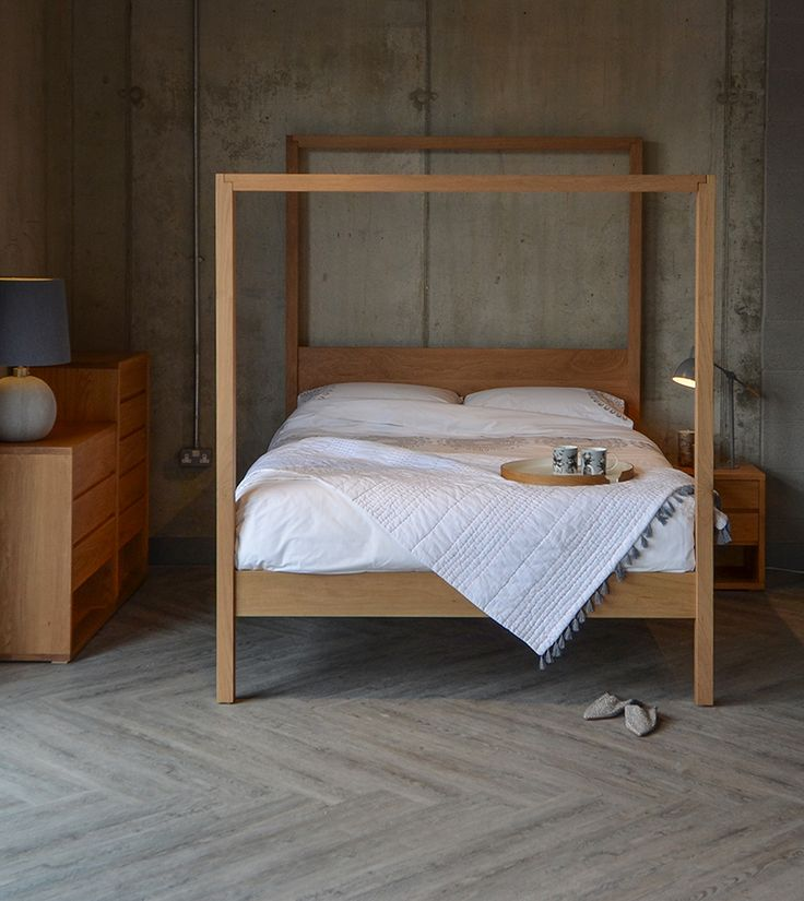The Oasis Contemporary 4 Poster Bed From Natural Bed Company   Shown Here  In Solid Oak | Relaxing Bedrooms | Pinterest | Oasis, Solid Oak And Oak Beds
