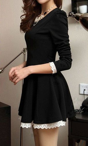 Lace Trim Black Dress- With Lace Design at Hem, #fashion, #blackdress