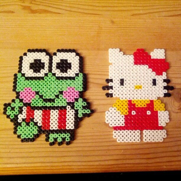 Sanrio characters (Keroppi and Hello Kitty) Nabbi perler by anneangel91